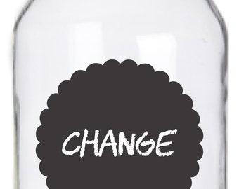Mason Jar Chalkboard Labels - 14 Scalloped Circle Labels