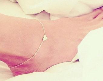 Gold heart ankle bracelet - Heart anklet