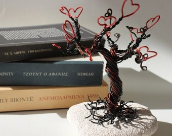 Love valentines tree, wire tree, jewelry tree stand, tree with hearts