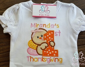 1st Thanksgiving  personalized  Short sleeve Bodysuit, Shirt, Bib or Burp Cloth  GIRL -  First Thanksgiving - Baby Turkey