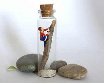 TinyLand #28~Mountain-climber~Glass Bottle,Man gift,For him, Personalised Gift, Nature Bottle,Miniature people, Handmade,Tiny people