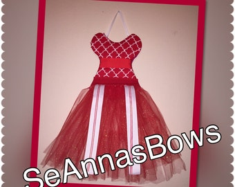 Red and white TuTu Hairbow holder