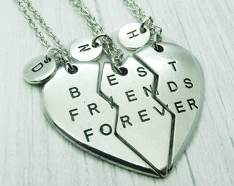 Three (3) BFF Necklace Set, Best Friends Forever, necklace friend, jewellery bff 3, best friend gift, friendship, split 3 heart necklace