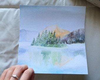 Snowy Mountain  Original Watercolor Painting