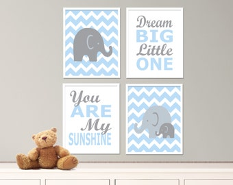 "Printable Elephant Nursery Art Print Set, Suits Baby Nursery,Blue and Gray Nursery Decor, Set of 4-8x10"" Digital Instant Download - S280"