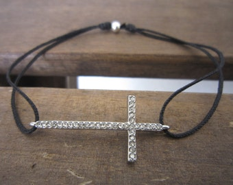 BRACELET Cross and CRYSTALS on cord