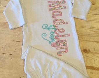 Personalized infant gown, coming home outfit