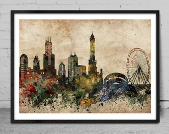 Chicago Skyline Art Print, Chicago Watercolor Painting, Chicago Art Print, Chicago Wall Art , Chicago Wall Art, Chicago decor -x72