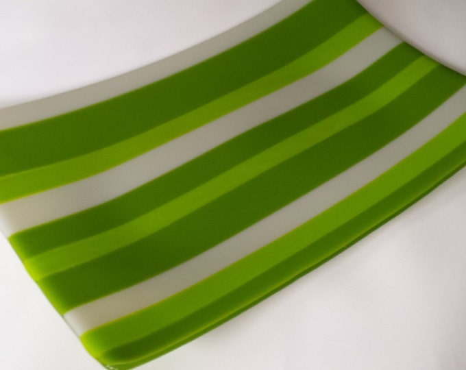 In the greens. Lovely fused glass tray  or platter to use for any occasion.