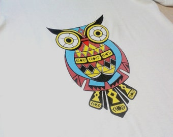 "T-shirt with hand-made print ""Owl"""