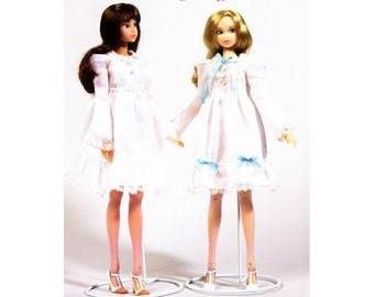 "Pattern for 27cm Fashion Doll such as Momoko, Francie or Jenny - 11"" Doll Clothing Pattern - Harajuku Baby Doll Dress"