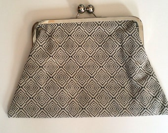 Leather  Black and Cream Print Clutch Bag