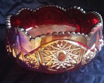 Indiana Glass Company Heirloom Red Carnival Glass Hobstar and Arches Bowl