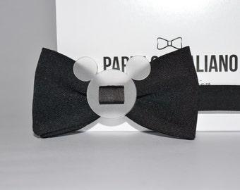 Papillon Italian-black with transparent Plexiglass insert-Handmade 100% Made in Italy-Bowtie