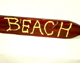 Rustic Wood Beach Sign with leather hanger