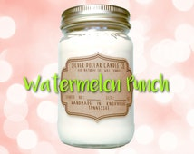 Watermelon Punch 16oz Scented Candle, Summer Candle, gifts for mom, Mason Jar Candle, Strong Scented Candles, Jolly Rancher, Gift for her