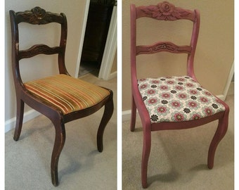 Re-loved antiqued reupholstered chair