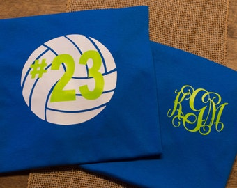 Monogrammed volleyball shirt with player's number & team colors