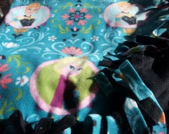 READY TO SHIP Frozen Coronation Knotted Fleece Throw With Antipill Backing