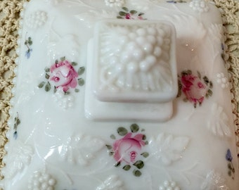 Vintage White Glass Covered Compote/Candy Dish/Jewelry Holder
