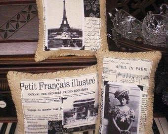 Burlap Paris Pillow Set