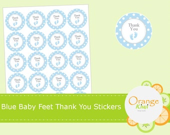 Blue Baby Shower Thank You Stickers, Blue Baby Feet Stickers, Baby Shower Party Favor Stickers, Cupcake Toppers