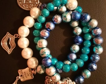 French Kiss Beaded Stretch Bracelet Set w/Charms