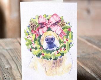Watercolour Golden Retriever Dog Christmas Card, Golden Retriever Christmas Wreath Card, Funny Watercolor Goldie Dog Christmas Card