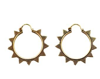 Triangle Hoops- Brass Hoops- Sun Hoops- Gypsy Hoops