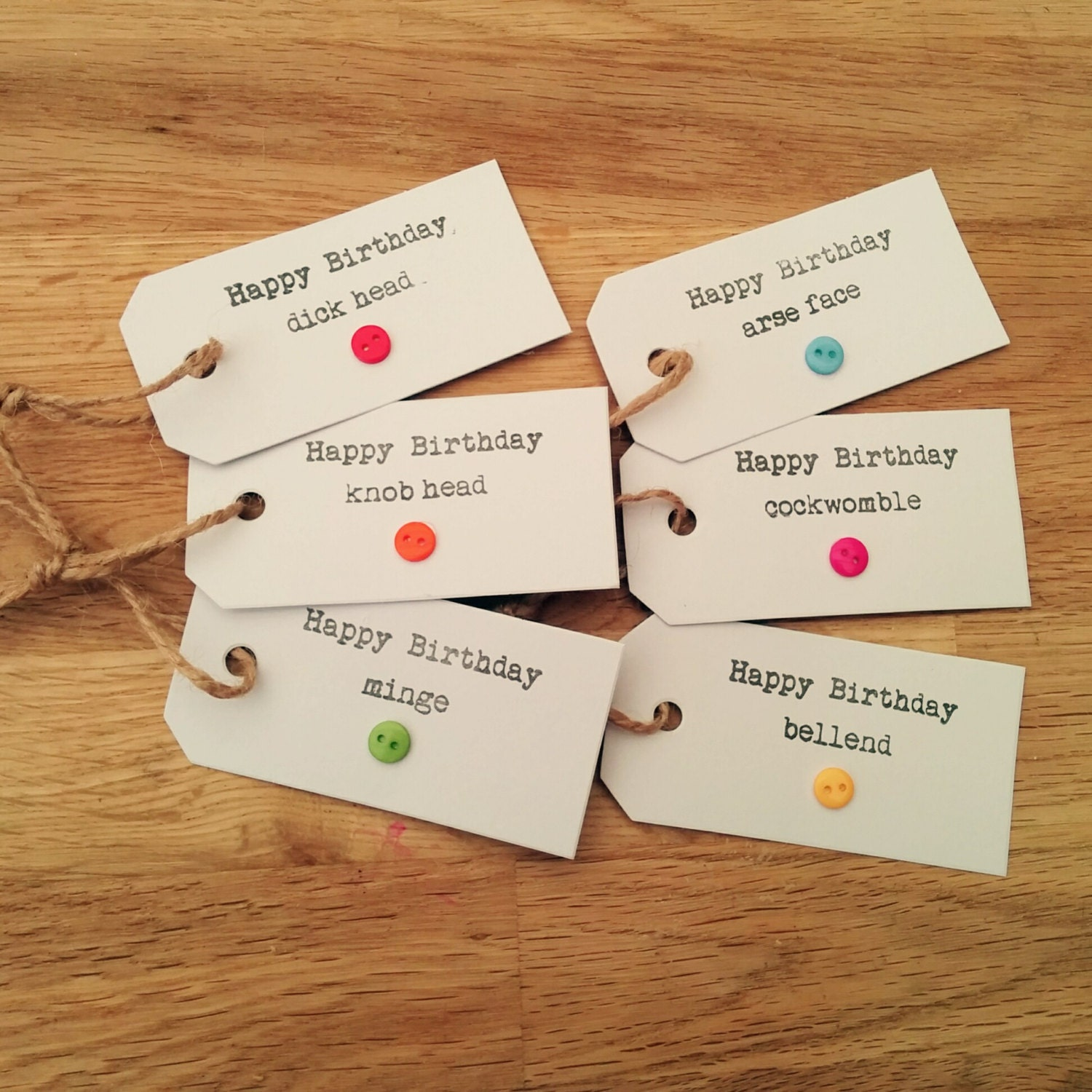 Pack of 6 rude funny birthday t tags handmade hand