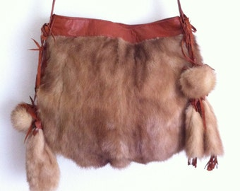 Crossbody bag, from real mink and brown leather with red tone, original handmade bag, beige color, size - medium