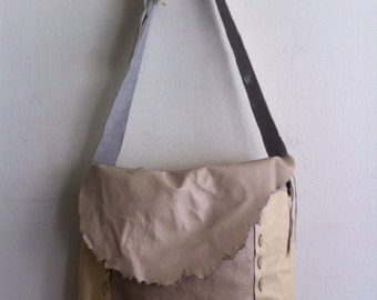 Handmade crossbody bag for men, handbag from real leather, vintage, beige & gray color, size: medium.