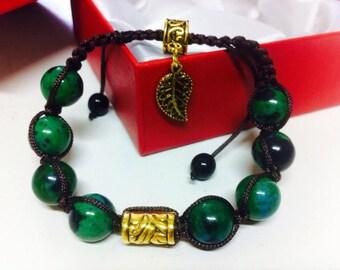 "Bracelet ""Forestry charm"" from chrysocolla gemstone"
