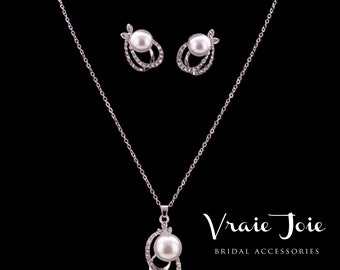 Wedding Jewellery Set (Necklace and Earrings), Bridal Pearl Necklace and Earrings, rhinestone, Pearl, Silver