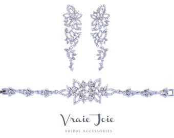 Wedding Jewellery Set (Bracelet and Earrings), Bridal Bracelet and Earrings, rhinestone