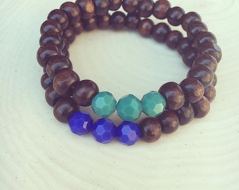 Wood/glass bead bracelets