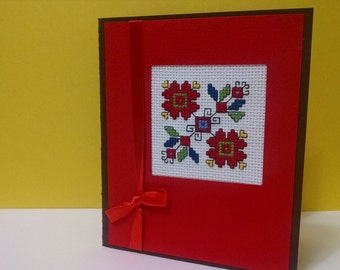 Cross stitch card , Handmade cards, Flowers, Mother's day, Birthday