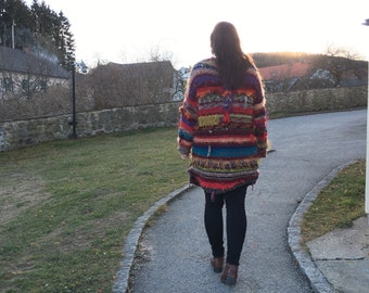 Jacket, coat knitted and knotted, XL