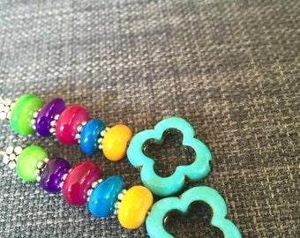 Multi-color beaded earings