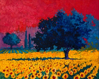 A sunflower field..Instant download.JPG and TIFF files for printing an original oil painting.