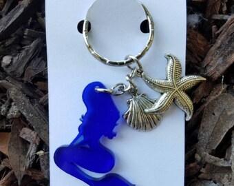 Neon blue mermaid keychain