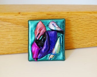 Multi-colored Brooch with Forest Green Background