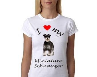 Miniature Schnauzer shirt - Shirt with Miniature Schnauzer picture - I Heart my Miniature Schnauzer shirt