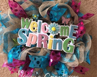 Easter wreath, spring wreath, front door wreath,