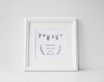 Personalised Baby Birth Print - Square - Foil Print - Typography - Handmade - Prints279