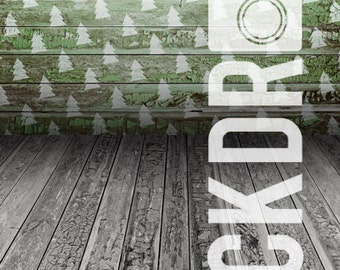 Forced Perspective Photography Backdrop - Christmas Trees & Wood Floor - 5'x10'
