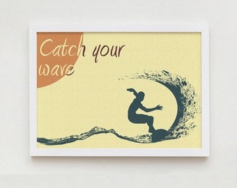 Surfing print wall art home decor interior