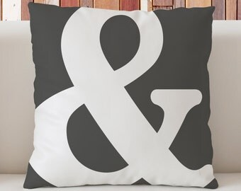 "Ampersand decorative pillow 18""x18"", And sign pillow,  Dorm decor pillow, Typography Art pillow, Grey pillow"