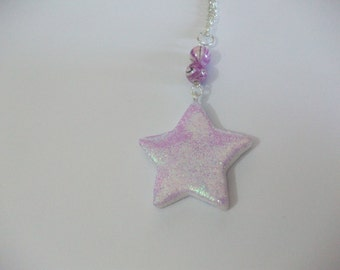 Necklace star spangle violet and her pearls
