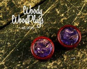Red ear plugs  violet maple inlay -Wood purple plugs -ear plugs and tunnels -plugs handmade - ear plugs wood  wood purple plugs - ear gauges